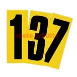 Startnummer Schwarz mit gelben Hintergrund